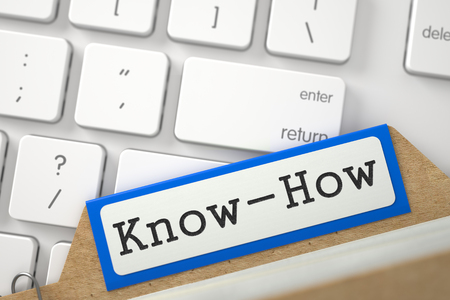 knowhow: Know-How Concept. Word on Blue Folder Register of Card Index. Close Up View. Selective Focus. 3D Rendering.