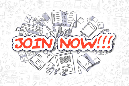 signing papers: Join Now - Sketch Business Illustration. Red Hand Drawn Word Join Now Surrounded by Stationery. Cartoon Design Elements. Stock Photo