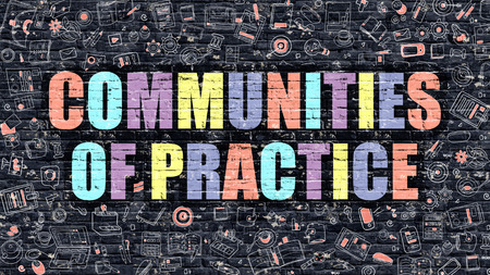 rationale: Communities of Practice Concept. Communities of Practice Drawn on Dark Wall. Communities of Practice in Multicolor. Communities of Practice Concept in Modern Doodle Style. Stock Photo