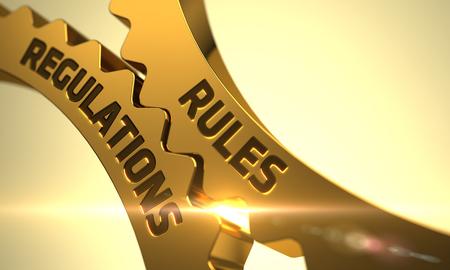 golden rule: Golden Metallic Cogwheels with Rules Regulations Concept. 3D.