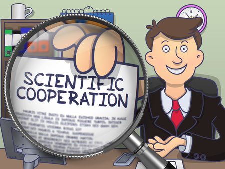 erudite: Scientific Cooperation through Lens. Officeman Shows Paper with Concept. Closeup View. Multicolor Doodle Style Illustration. Stock Photo
