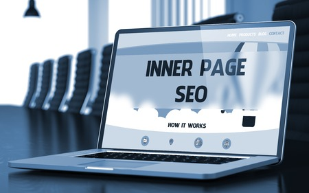web portal: Inner Page SEO on Landing Page of Mobile Computer Screen in Modern Meeting Room Closeup View. Blurred Image with Selective focus. 3D Rendering. Stock Photo
