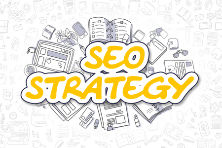 SEO Strategy - Sketch Business Illustration. Yellow Hand Drawn Word SEO Strategy Surrounded by Stationery. Doodle Design Elements. Stock Photo