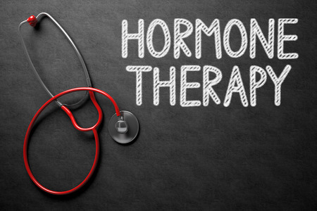 red stethoscope: Medical Concept: Hormone Therapy - Text on Black Chalkboard with Red Stethoscope. Black Chalkboard with Hormone Therapy - Medical Concept. 3D Rendering. Stock Photo