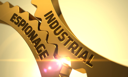 corporate espionage: Industrial Espionage on Mechanism of Golden Cogwheels. 3D. Stock Photo