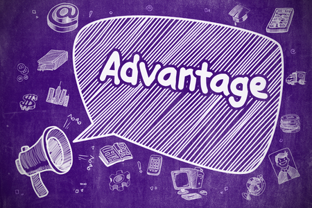advantages: Business Concept. Mouthpiece with Wording Advantage. Hand Drawn Illustration on Purple Chalkboard. Yelling Bullhorn with Text Advantage on Speech Bubble. Cartoon Illustration. Business Concept.