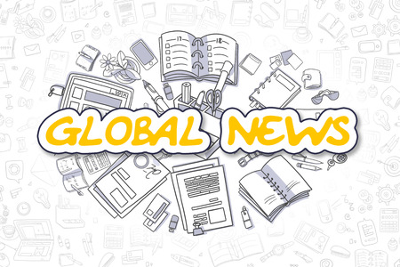mondial: Global News Doodle Illustration of Yellow Word and Stationery Surrounded by Doodle Icons. Business Concept for Web Banners and Printed Materials. Stock Photo