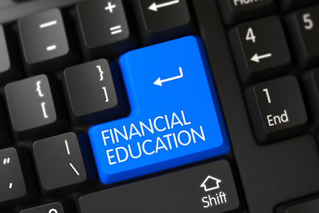 financial education: Financial Education on Computer Keyboard Background. 3D Render. Stock Photo