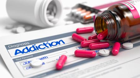 Handgeschreven Diagnose Addiction in het uittreksel uit de geschiedenis van de ziekte. Geneesmiddelen Samenstelling van rode pillen, blaar van Pillen en Fles van Tabletten. 3D Illustratie.
