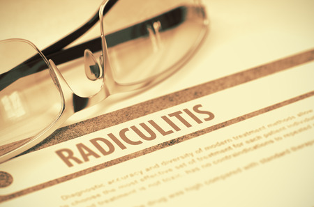aching: Radiculitis - Medicine Concept with Blurred Text and Glasses on Red Background. Selective Focus. 3D Rendering.