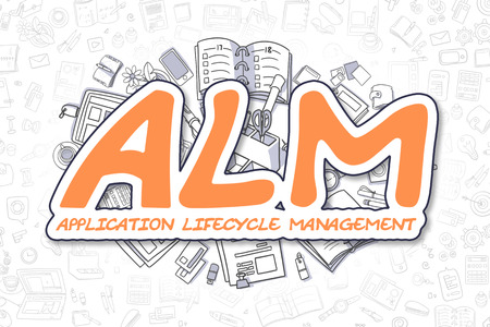 lifecycle: Orange Text - ALM - Application Lifecycle Management. Business Concept with Cartoon Icons. ALM - Application Lifecycle Management - Hand Drawn Illustration for Web Banners and Printed Materials. Stock Photo