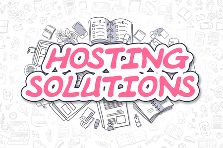 metasearch: Magenta Word - Hosting Solutions. Business Concept with Cartoon Icons. Hosting Solutions - Hand Drawn Illustration for Web Banners and Printed Materials. Stock Photo