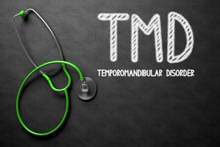 의학 개념 : 검은 칠판에 TMD - 악안면 장애. 의학 개념 : TMD-Temporomandibular 장애가있는 검은 색 칠판. 3D 렌더링.