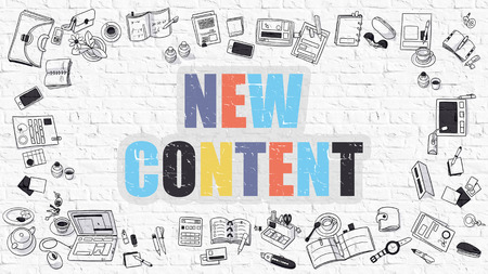 rewriting: New Content. New Content Drawn on White Wall. New Content in Multicolor. Doodle Design. Modern Style Illustration. Doodle Design Style of New Content. Line Style Illustration. White Brick Wall.