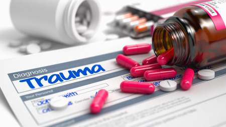 lesion: Trauma Phrase in Medical History. Close View of Medical Concept. Handwritten Diagnosis Trauma in the Disease Extract. Medicaments Composition of Red Pills, Blister of Pills and Bottle of Tablets. 3D.