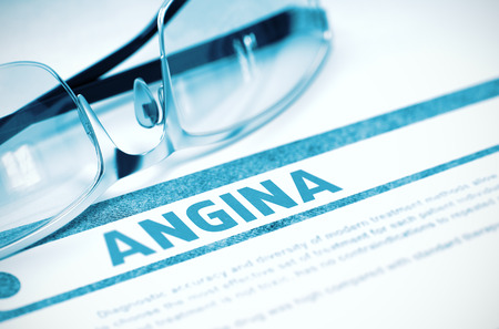 angina: Diagnosis - Angina. Medicine Concept with Blurred Text and Glasses on Blue Background. Selective Focus. 3D Rendering.