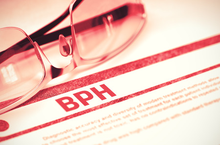 hesitancy: BPH - Benign Prostatic Hyperplasia - Printed Diagnosis on Red Background and Specs Lying on It. Medicine Concept. Blurred Image. 3D Rendering.
