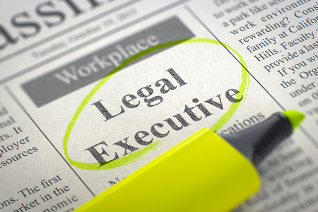 A Newspaper Column in the Classifieds with the Small Ads of Job Search of Legal Executive, Circled with a Yellow Highlighter. Blurred Image. Selective focus. Hiring Concept. 3D Illustration. Stock Photo
