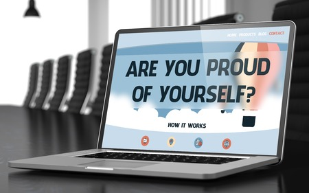 gratified: Modern Conference Hall with Laptop on Foreground Showing Landing Page with Text Are You Proud Of Yourself. Closeup View. Toned. Blurred Image. 3D Illustration. Stock Photo