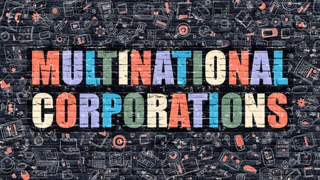 Multinational Corporations Concept. Modern Illustration. Multicolor Multinational Corporations Drawn on Dark Brick Wall. Doodle Icons. Doodle Style of Multinational Corporations Concept.