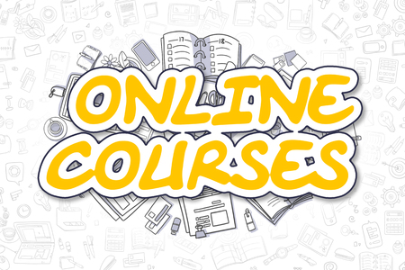 vocational training: Online Courses - Sketch Business Illustration. Yellow Hand Drawn Word Online Courses Surrounded by Stationery. Doodle Design Elements. Stock Photo