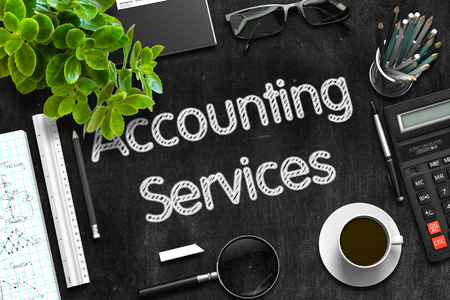 Accounting Services Handwritten on Black Chalkboard. Top View of Black Office Desk with a Lot of Business and Office Supplies on It. 3d Rendering.
