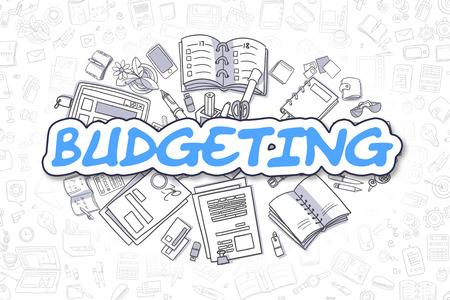 marginal returns: Business Illustration of Budgeting. Doodle Blue Inscription Hand Drawn Cartoon Design Elements. Budgeting Concept. Stock Photo