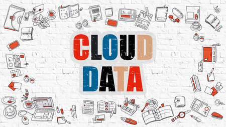 wall cloud: Cloud Data Concept. Cloud Data Drawn on White Wall. Cloud Data in Multicolor. Modern Style Illustration. Doodle Design Style of Cloud Data.  Line Style Illustration. White Brick Wall.