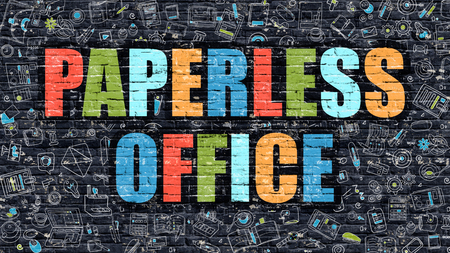 paperless: Paperless Office Concept. Modern Illustration. Multicolor Paperless Office Drawn on Dark Brick Wall. Doodle Icons. Doodle Style of  Paperless Office Concept. Paperless Office on Wall.