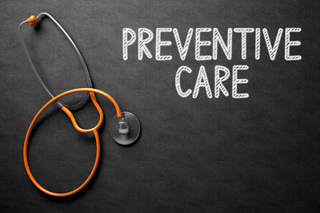 preventive: Medical Concept: Black Chalkboard with Handwritten Medical Concept - Preventive Care with Orange Stethoscope. Top View. Medical Concept: Black Chalkboard with Preventive Care. 3D Rendering.