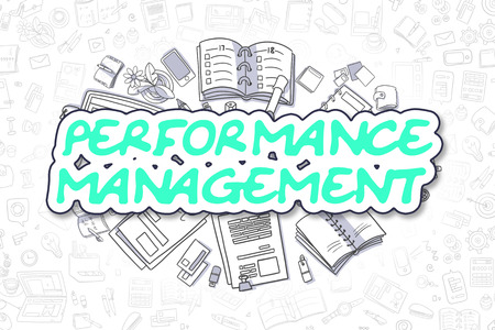 throughput: Business Illustration of Performance Management. Doodle Green Text Hand Drawn Cartoon Design Elements. Performance Management Concept.