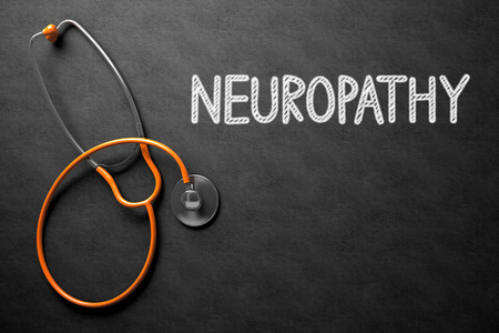 involuntary: Medical Concept: Neuropathy Handwritten on Black Chalkboard. Medical Concept: Neuropathy -  Black Chalkboard with Hand Drawn Text and Orange Stethoscope. Top View. 3D Rendering.
