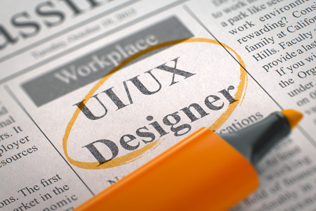 Newspaper with Small Advertising UI UX Designer. Blurred Image with Selective focus. Hiring Concept. 3D.