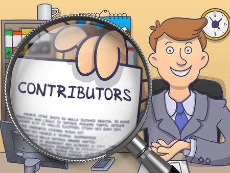 deposition: Contributors. Officeman Showing Concept on Paper through Lens. Multicolor Modern Line Illustration in Doodle Style. Stock Photo