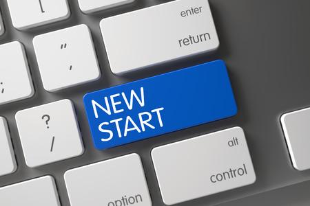 new start: New Start Concept Metallic Keyboard with New Start on Blue Enter Keypad Background, Selected Focus. 3D Render.