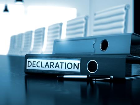 declaration: Office Folder with Inscription Declaration on Black Table. Declaration - Office Folder on Wooden Working Desk. Declaration. Business Concept on Blurred Background. 3D.