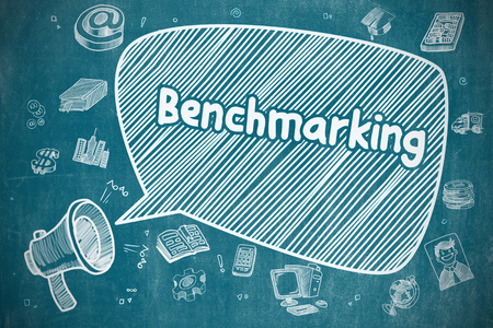 benchmark: Speech Bubble with Phrase Benchmarking Doodle. Illustration on Blue Chalkboard. Advertising Concept. Benchmarking on Speech Bubble. Cartoon Illustration of Shrieking Megaphone. Advertising Concept. Stock Photo