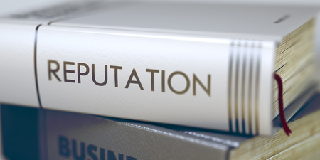 resplendence: Reputation - Business Book Title. Stack of Books with Title - Reputation. Closeup View. Reputation Concept. Book Title. Book Title on the Spine - Reputation. Toned Image. 3D. Stock Photo