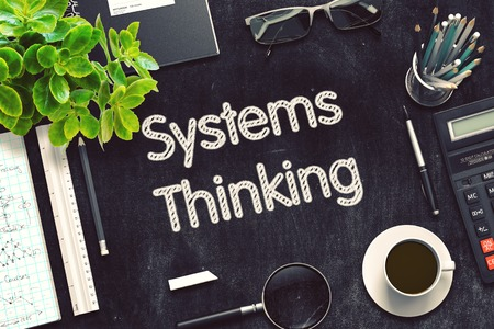systems thinking: Black Chalkboard with Systems Thinking. 3d Rendering. Toned Image.