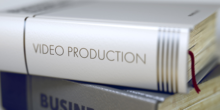 cine: Book Title on the Spine - Video Production. Book Title on the Spine - Video Production. Closeup View. Stack of Books. Toned Image with Selective focus. 3D Rendering.
