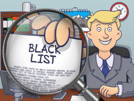 blacklist: Man in Suit Looking at Camera and Showing Concept on Paper Black List Concept through Lens. Closeup View. Colored Doodle Illustration.