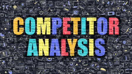 competitor: Competitor Analysis Concept. Competitor Analysis Drawn on Dark Wall. Competitor Analysis in Multicolor. Competitor Analysis Concept. Modern Illustration in Doodle Design of Competitor Analysis.