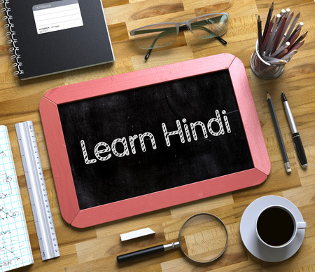 devanagari: Learn Hindi - Text on Small Chalkboard.Top View of Office Desk with Stationery and Red Small Chalkboard with Business Concept - Learn Hindi. 3d Rendering.