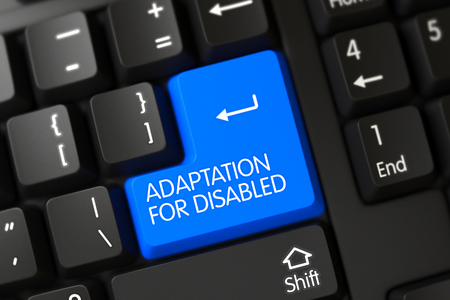 adaptation: Adaptation For Disabled Concept: Modern Keyboard with Blue Enter Key Background, Selected Focus. 3D.