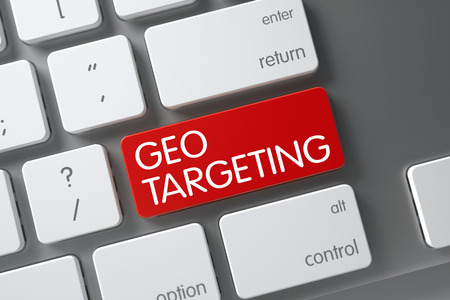 ip address: Geo Targeting Concept White Keyboard with Geo Targeting on Red Enter Button Background, Selected Focus. 3D Illustration.