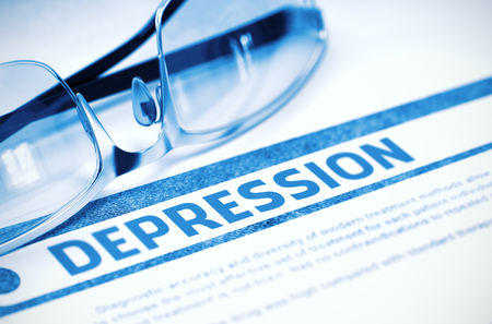 Depression - Medical Concept with Blurred Text and Glasses on Blue Background. Selective Focus. 3D Rendering.