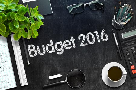 marginal returns: Budget 2016 Concept on Black Chalkboard. 3d Rendering. Toned Image.