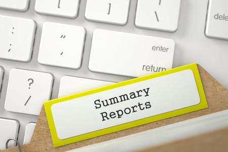 documented: Yellow Index Card with Inscription Summary Reports Concept on Background of Modern Metallic Keyboard. Closeup View. Blurred Illustration. 3D Rendering.