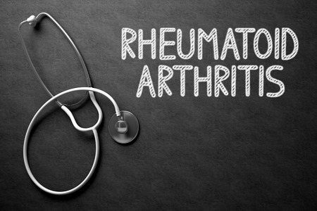 autoimmune: Medical Concept: Black Chalkboard with Rheumatoid Arthritis. Medical Concept: Black Chalkboard with Handwritten Medical Concept - Rheumatoid Arthritis with White Stethoscope. Top View. 3D Rendering.