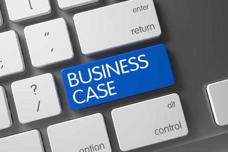 Caja del teclado del asunto Concepto metálico con el caso de negocio en azul entrará fondo del teclado, selecciona el enfoque. Ilustración 3D.